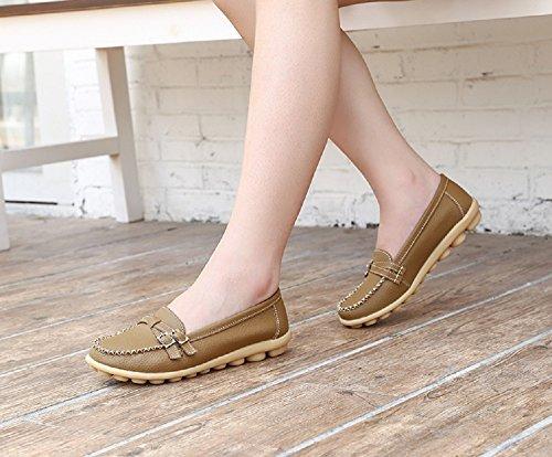 Moda Guida Pelle Slip da Zeppa Scarpe Donna Mocassini Multicolors Loafers con in Comfort Comode Nero cachi 44 34 Estivi On wIvECqf