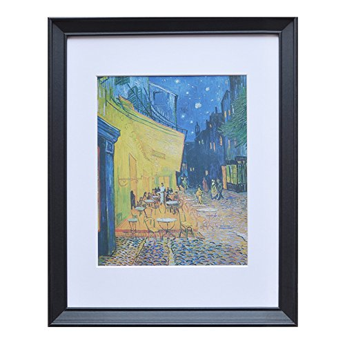 - 11x14 Wood Picture Frame - Beveled Profile - 1pc - for Picture 8x10 with Mat or 11x14 Without Mat (Black)