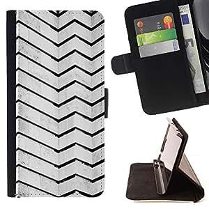 For HTC One M7 Case , Arquitectura Líneas Stripes Pared Negro Blanco- la tarjeta de Crédito Slots PU Funda de cuero Monedero caso cubierta de piel