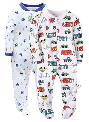 Marquebaby 2 Pack Little Cars Baby Boys Footed Pajama   100  Cotton Zip Front Sleep And Play Sleeper 24M