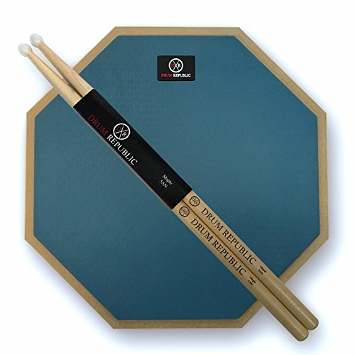 Drum Pad And Sticks By Drum Republic. 12 Inch Pad And Pair Of 5A drumsticks. Snare Drum Practice Kit For Beginners And Professional Drummers. Quiet Drumming 12 In One Sided Pad
