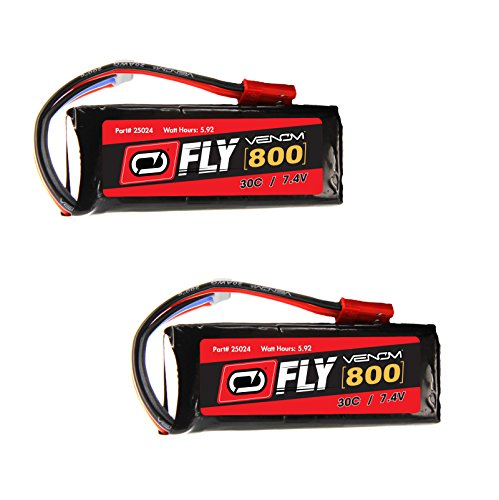 Venom Fly 30C 2S 800mAh 7.4V LiPo Battery with JST Plug x2 Pack Combo - Compare to E-flite EFLB8002SJ30 (Flight Cell)