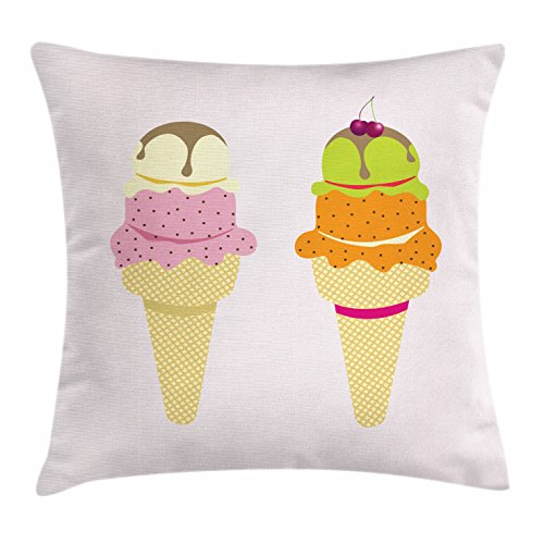 Lunarable Ice Cream Throw Pillow Cushion Cover, Colorful Cones with Different Flavored Cold Desert Chocolate and Cherry on Top, Decorative Square Accent Pillow Case, 18 X 18 Inches, Multicolor Top Deck Chocolate