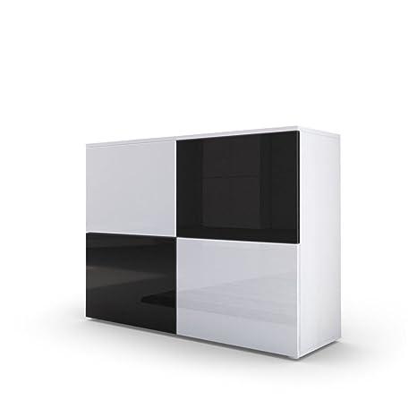 Credenza moderna Skate, comò di design bianco e nero lucido, mobile  soggiorno, entrata, sala