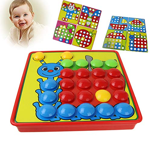 123Loop Mushroom Nails Educational Dolls Color Matching Mosaic Pegboard Set Early Learning Educational Toys Kids Party by 123Loop