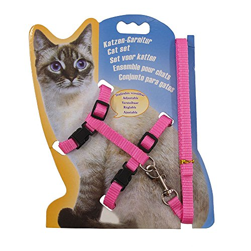 - Rella Home Adjustable Cat Harness Pink and Leash Halter Nylon Strap Belt Safety Rope Leads