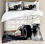 Cars Twin Duvet Cover Sets 4 Piece Bedding Set Bedspread with 2 Pillow Sham, Flat Sheet for Adult/Kids/Teens, Dragster Racing down The Track with Burnout Competition Speed Sports Technology
