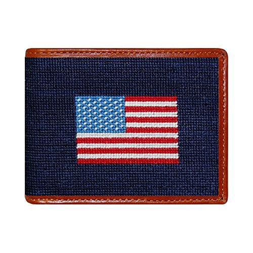 Smathers & Branson Men's Needlepoint Bi-Fold Wallet American Flag/Dark Navy