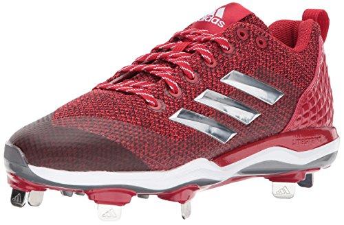 adidas Men's PowerAlley 5 Baseball Shoe, Power Red, Silver Met, FTWR White, 10 M US