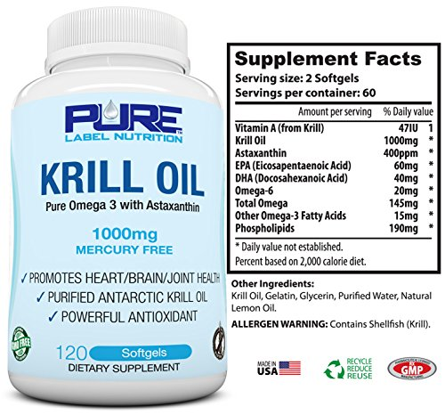 Krill oil 1000mg with astaxanthin 120 caps omega 3 6 9 for Fish oil with astaxanthin