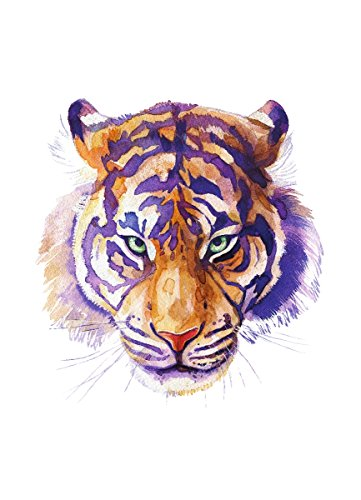 iCandy Products Inc Tiger Home Wall Shelf Decor Animal Decorations Watercolor Small Sign, Metal, 7.5x10.5 Inch