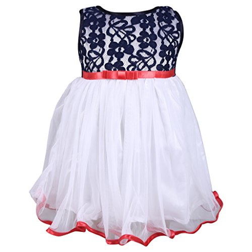 Sweety Jilax Navy Blue and White 1 Year Girls Frock