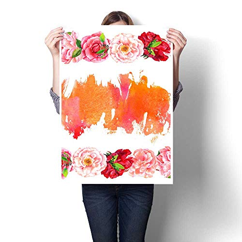 for Home Decoration Watercolor Floral Invitation or Card Design with Copy Space Canvas Art Posters Prints Wall Art 16