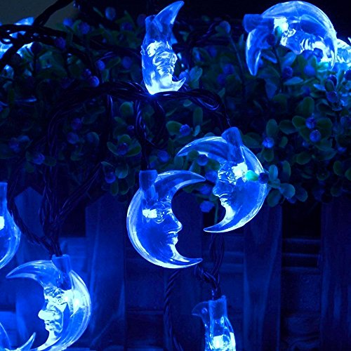 Blue Moon Cord (AENIML Solar Lights String, 30 LED Moon Shape Decorative Outdoor String for Home / Garden / Chirstmas Tree / Party -)