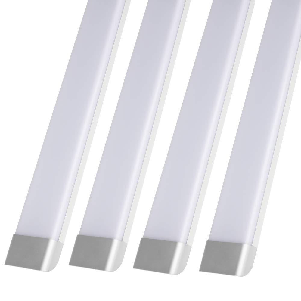 3FT LED Tube Light, 45W LED Batten Lights, 3000 Lumens, 6500K Daylight White, Milky Cover, T8 T10 T12 Fluorescent Fixture Replacement for Home, Shop, Office, Warehouse, Garage, Market - 4 Packs