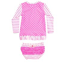 RuffleButts Infant / Toddler Girls Hot Pink Striped Polka LS Rash Guard Bikini