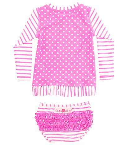 RuffleButts Infant / Toddler Girls Neon Pink Striped Polka LS Rash Guard Bikini - Hot Pink/White - 6-12m