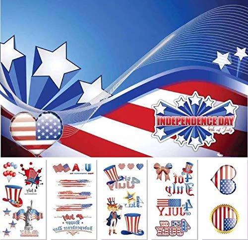 M.owstoni Fourth of July Decorations Temporary Tattoos Favors for Kids 60 Glitter Styles Birthday Girls