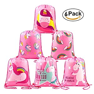 Unicorn Party Favors Supplies Bags for Girls Boys, 6 Pack Kids Drawstring Backpack with Cute Pattern Printing for School