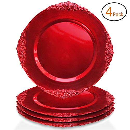 ChargeIt by Jay Leaf Charger Plates (Set of 4), Red ()