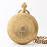 Zxcvlina Classic Smooth Exquisite Flower Carved Retro Mechanical Pocket Watch Golden with Chain Creative Unisex Birthday Gift Suitable for Gift Giving