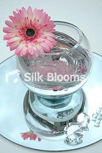 Arreglo de mesa efecto espejo y pecera - Rosa Spiral Gerbera Daisy