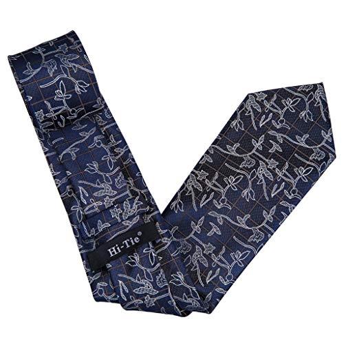 Men's Necktie Blue Floral Tie Set Ties Cuffllinks Handkerchiefs