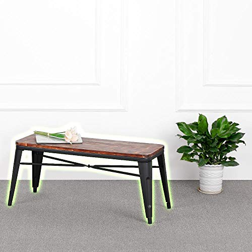 Small Trestle Dining Bench Backless Wood Vintage Furniture Excellent Industrial Style Bench Quite Sturdy and Comfortable Thick Metal and Natural Pinewood Wood Top Is Crafted and Looks Rustic by Indipartex