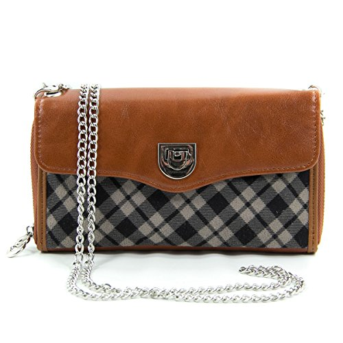 Kroo's Purse Clutch Wristlet Wallet and Crossbody Strap for Smartphones up to 5.5-Inch - Carrying Case - Frustration-Free Packaging - Brown with Black and Grey Plaid