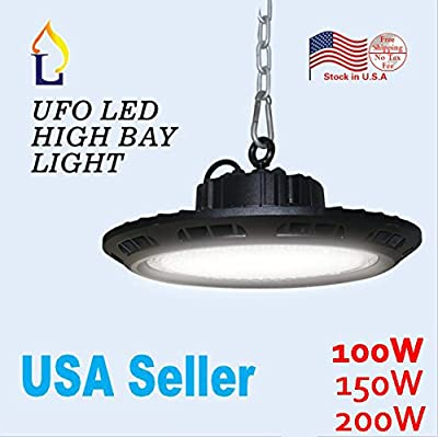 (2 Pack) LED 150W UFO LED High Bay Lighting REPLACE 500W HPS/MH Bulbs Equivalent, 18500lm, Waterproof, Daylight White, 6000K, 90 degree Beam Commercial Lighting LED High Bay Lights Stock in US