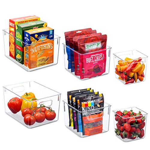 Set Of 6 Clear Pantry Organizer Bins Household Plastic Food Storage Basket with Cutout Handles for Kitchen, Countertops, Cabinets, Refrigerator, Freezer, Bedrooms, Bathrooms