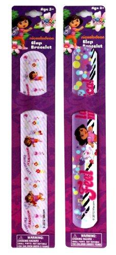SOLD in 12 Pieces - New DORA Slap Bracelets Bands Toys Perfect for Birthday Party Favor Goodie -