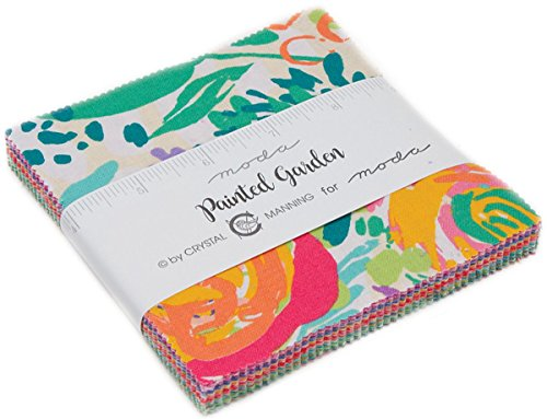 Painted Garden Charm Pack by Crystal Manning; 42-5'' Precut Fabric Quilt Squares by MODA