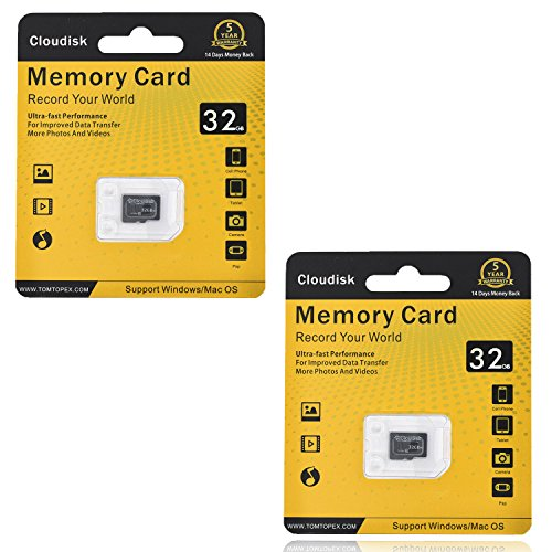 Memory K-byte - Cloudisk 2Pack Memory Card 32GB Micro SD Cards Extreme Pro MicroSD Card Professional 1080P Full HD Video Shooting TF Flash