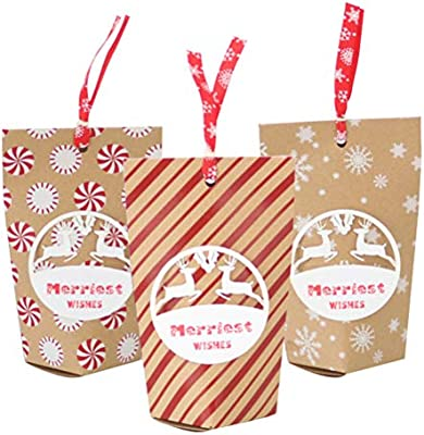 Vosarea Bolsas de Regalo de Kraft de Navidad de 24 Piezas ...