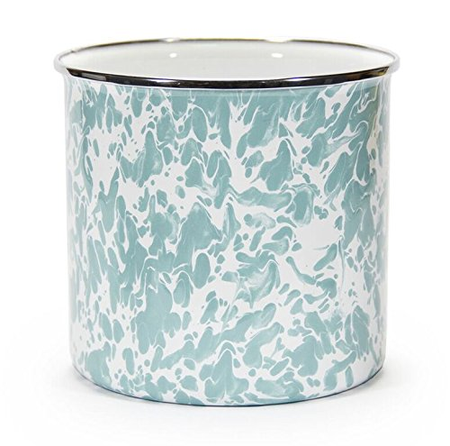 Set of 2 Kitchen Utensil Holder Crock Kitchen Storage Organization Containers Light Blue Swirl Enamelware 6'' Set of 2