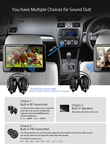 XTRONS-10-Inch-Car-Auto-Headrest-DVD-Player-Silver-Frame-Headphone-Included