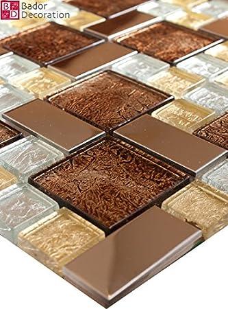 Matte Glasmosaik Mosaikfliesen Mosaik Glas Edelstahl Silber Gold - Mosaik fliesen braun gold
