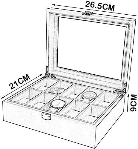ZXvbyuff Guarda Box Guarda Box di legno 10 Slot Jewelry Display Storage Box/superiore di vetro/uomini e donne, A, Box