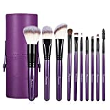 Makeup Brushes Set with Travel Bag, Purple 10 PCS Prime Professional Cosmetics Foundation Powder Brow Fan Eyeshadow Highlighter Primer Blush Concealer Face Make Up Brush with Holder Carrying Case Kit