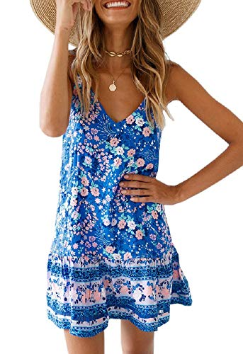 (Saikesigirl Womens Floral Spaghetti Strap Mini Dress Boho V Neck Loose Fitting Ruffle Bottom Short Party Club Dresses Blue)