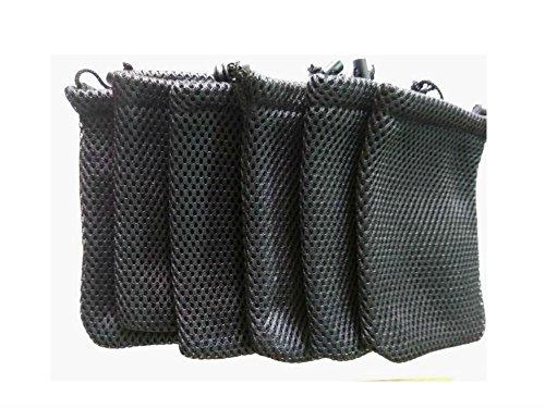 GBSTORE 6 Pcs Black Cell Phone or MP3 Nylon Mesh Drawstring Pouch Bags