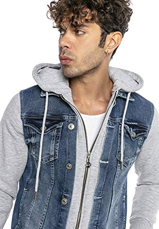 Redbridge męska kurtka jeansowa z kapturem, styl casual, przejściowa, dresowa: Odzież
