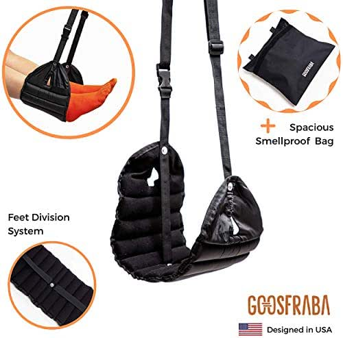 Footrest Hammock Premium Travel Accessories + Waterproof Smart Travel Bag – Improve Airplane Experience - Better Stability, Comfy and Separated Feet – Prevents Swelling, Soreness