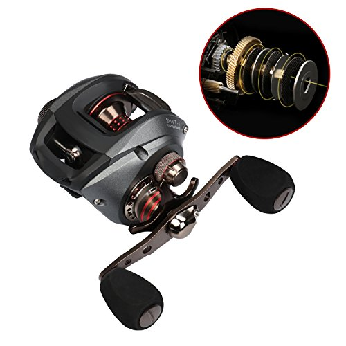 RUNCL Baitcaster Swift, Baitcasting Reel 11+1 Shielded Ball Bearings, 6.5:1 Gear Ratio, Ring-Shaped Magnetic Brake System, Sealed Carbon Fiber Drag, Fishing Reel for Freshwater and Saltwater (Left)