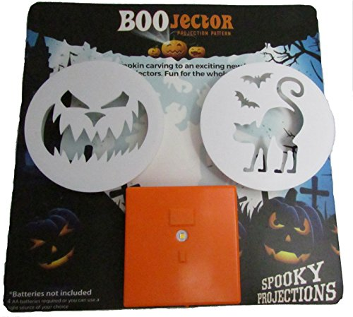Halloween Boojectors And LED Light For Pumpkin Decorating, Carving, Indoor or Outdoor Projections (Pumpkin Face And Cat) ()