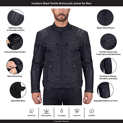 Viking Cycle Ironborn Protective Textile Motorcycle Jacket for Men - Waterproof, Breathable, CE Approved Armor for Bikers (Black, Medium)