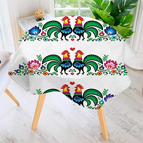 Pink Screen Printed - aolankaili Hand Screen Printed Tablecloth-Gallos Roosters Polish Culture Slavic Classics Tribal Green Blue Pink Red Modern Printed Spill Proof Cloth Round Tablecloths 50