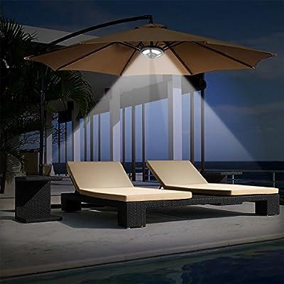 LIVE4COOL Patio Umbrella Light, 2 Brightness Modes Cordless 36 LED Lights at 220 lux - 3 x AA Battery Operated Umbrella Light, Umbrella Pole Light for Patio Umbrellas, Camping Tents, Beach Umbrella