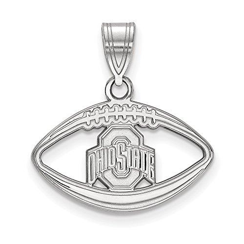 Q Gold Collegiate Ohio State University Sterling Silver LogoArt Ohio State University Pendant in Football ()